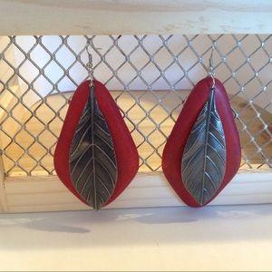 Silver Tone Red Wooden Metal Leaf Earrings